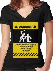 Funny Avoid Serious Injury Women's Fitted V-Neck T-Shirt