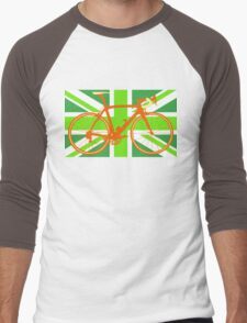 Bike Flag United Kingdom (Green) (Big - Highlight) Men's Baseball ¾ T-Shirt