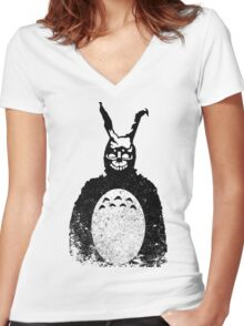 Donnie Darko Totoro Mash Up Women's Fitted V-Neck T-Shirt