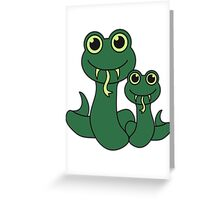 Mama Papa kind sweet cute snakes Greeting Card
