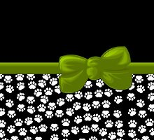 Ribbon, Bow, Dog Paws, Paw-prints - White Black Green by sitnica