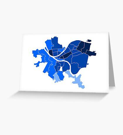 Pittsburgh Neighborhood Map Blue Greeting Card