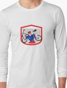 Cyclist Carrying Mountain Bike on Shoulders Cartoon Long Sleeve T-Shirt