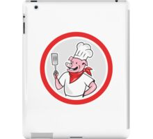 Pig Chef Cook Holding Spatula Circle Cartoon iPad Case/Skin
