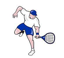 Tennis Player Racquet Cartoon by patrimonio