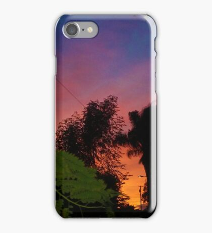 Purple Sunsets with Green Leaves by Jeronimo Rubio Photorgraphy 2016 iPhone Case/Skin