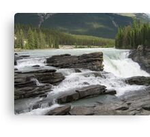 Mountains, River, Waterfall, Jasper National Park, Canada Canvas Print