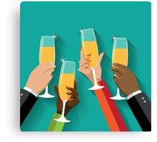 Champagne Toast Flat design Canvas Print