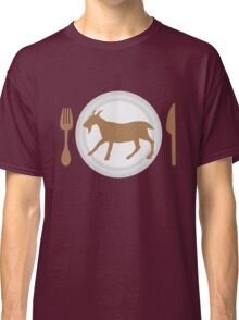 EAT GOAT on a plate with knife and fork Classic T-Shirt