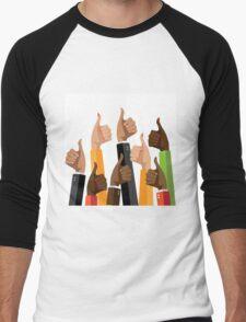 Flat design multicultural group thumbs up Men's Baseball ¾ T-Shirt