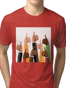 Flat design multicultural group thumbs up Tri-blend T-Shirt