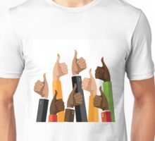 Flat design multicultural group thumbs up Unisex T-Shirt