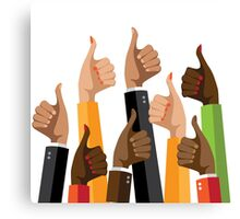 Flat design multicultural group thumbs up Canvas Print