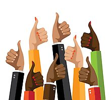 Flat design multicultural group thumbs up Photographic Print