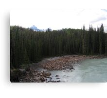 Mountains, River, Jasper National Park, Canada Canvas Print
