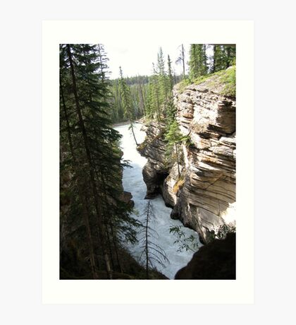 Mountains, River, Waterfall, Cliffs, barely hanging in there, Jasper National Park, Canada Art Print