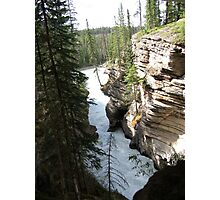 Mountains, River, Waterfall, Cliffs, barely hanging in there, Jasper National Park, Canada Photographic Print