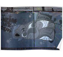 Grey White Graffiti Fish Poster