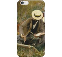 John Singer Sargent - An Out-Of-Doors Study 1889. Man portrait: strong man, boy, male, beard, business suite, masculine, boyfriend, smile, manly, sexy men, mustache iPhone Case/Skin