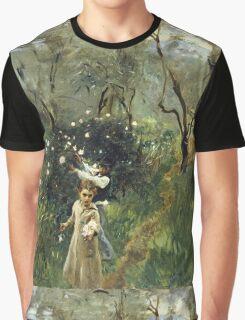 John Singer Sargent - Gathering Flowers At Twilight. Garden landscape: garden view, trees flowers, blossom, nature, botanical park, floral flora, wonderful flowers, plants, cute plant, garden, flower Graphic T-Shirt