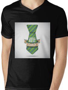 World's Best Dad necktie design. Mens V-Neck T-Shirt