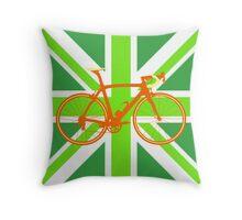 Bike Flag United Kingdom (Green) (Big - Highlight) Throw Pillow