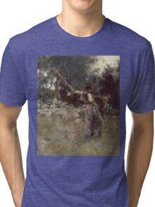 John Singer Sargent - A Capriote 1878. Woman portrait: sensual woman, girly art, female style, pretty women, femine, beautiful dress, cute, creativity, love, sexy lady, erotic pose Tri-blend T-Shirt