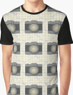 Camera with Triangle Pattern Graphic T-Shirt