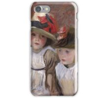 John Singer Sargent - Village Children. Child portrait: cute baby, kid, children, pretty angel, child, kids, lovely family, boys and girls, boy and girl, mom mum mammy mam, childhood iPhone Case/Skin