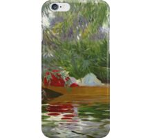 John Singer Sargent - Under The Willows. Lake landscape: trees, river, land, forest, coast seaside, waves and beach, marine naval navy, lagoon reflection, sun and clouds, nautical panorama, lake iPhone Case/Skin