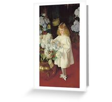 John Singer Sargent - Helen 1895. Child portrait: cute baby, kid, children, pretty angel, child, kids, lovely family, boys and girls, boy and girl, mom mum mammy mam, childhood Greeting Card