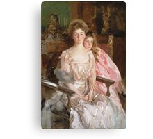 John Singer Sargent - Mrs. Fiske Warren And Her Daughter Rachel. Mother with kid portrait: cute girl, mother and daughter, female, pretty angel, child, lovely family, mothers day, memory, mom, baby Canvas Print