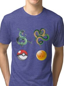 Rayquaza    vs      shenron Tri-blend T-Shirt