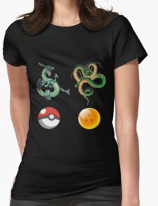 Rayquaza    vs      shenron Womens Fitted T-Shirt