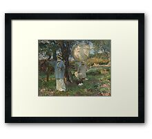 John Singer Sargent - The Sketchers 1913. Garden landscape: garden view, trees and flowers, blossom, nature, botanical park, floral flora, wonderful flowers, plants, cute plant, garden, flower Framed Print