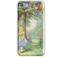 John Tenniel - Alice And The Cheshire Cat, Illustration From  Alice In Wonderland. Cat portrait: cute cat, kitten, kitty, cats, pets, wild life, animal, smile, little, kids, baby iPhone Case/Skin
