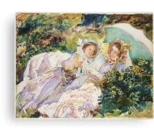 John Singer Sargent - The Tease 1911. Mother with kid portrait: cute girl, mother and daughter, female, pretty angel, child, beautiful dress, lovely family, mothers day, memory, mom mammy mam, baby Canvas Print