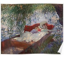 John Singer Sargent - Lady And Child Asleep In A Punt Under The Willows. Mom with baby portrait: sensual woman, love relations, lovely couple, family, valentine's day, romance, female and male Poster