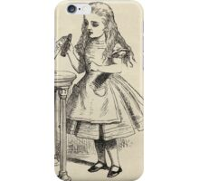 John Tenniel - Alice Peering At The Drink Me Bottle, From  Alice S Adventures In Wonderland. Girl portrait: cute girl, girly, female, pretty angel, child, smile, little, kids, baby iPhone Case/Skin