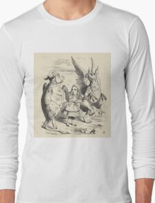 John Tenniel - Alice With The Gryphon And The Mock Turtle, From  Alice S Adventures In Wonderland. Bird painting: cute fowl, fly, wings, lucky, wild life, animal, birds, little small, bird, nature Long Sleeve T-Shirt