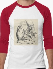 John Tenniel - Alice With The Gryphon And The Mock Turtle, From  Alice S Adventures In Wonderland. Bird painting: cute fowl, fly, wings, lucky, wild life, animal, birds, little small, bird, nature Men's Baseball ¾ T-Shirt