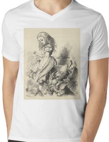 John Tenniel - Giant Alice Upsets The Jury Box, From  Alice S Adventures In Wonderland. Insects painting: cute bee, fly, bugs, lucky, pets, wild life, animal, butterfly, little small, insects, nature Mens V-Neck T-Shirt