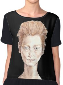 Tilda Red Head Face Portrait Drawing Chiffon Top