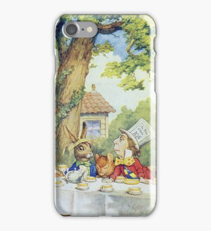 John Tenniel - Tea Party From  Alice S Adventures In Wonderland . Picnic painting: picnic time, holiday, people, family, travel, garden, outdoor meal, eating food, nautical panorama, picnic iPhone Case/Skin