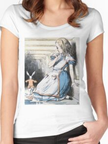 John Tenniel - The Pool Of Tears, Alice S Adventures In Wonderland. Girl portrait: cute girl, girly, female, pretty angel, child, beautiful dress, face with hairs, smile, little, kids, baby Women's Fitted Scoop T-Shirt