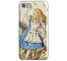 John Tenniel - The Shower Of Cards, Illustration From  Alice In Wonderland. Girl portrait: cute girl, girly, female, pretty angel, child, beautiful dress, face with hairs, smile, little, kids, baby iPhone Case/Skin