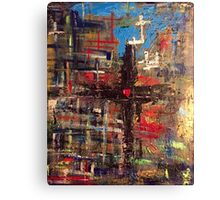 Hand painted Cross with Heart Canvas Print