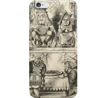 John Tenniel - The Trial Of The Knave Of Hearts, Alice Adventures In Wonderland. People portrait: party, people, family, female and male, peasants, crowd, romance, women and men, city, home society iPhone Case/Skin