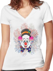 Clown.  fun and cute colorful clown, Fireworks Women's Fitted V-Neck T-Shirt