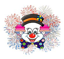 Clown.  fun and cute colorful clown, Fireworks Photographic Print